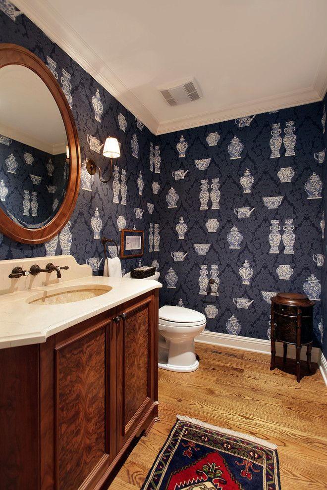 Stroheim for a Traditional Bathroom with a Damask and Traditional Bathroom by Aveinteriors.com