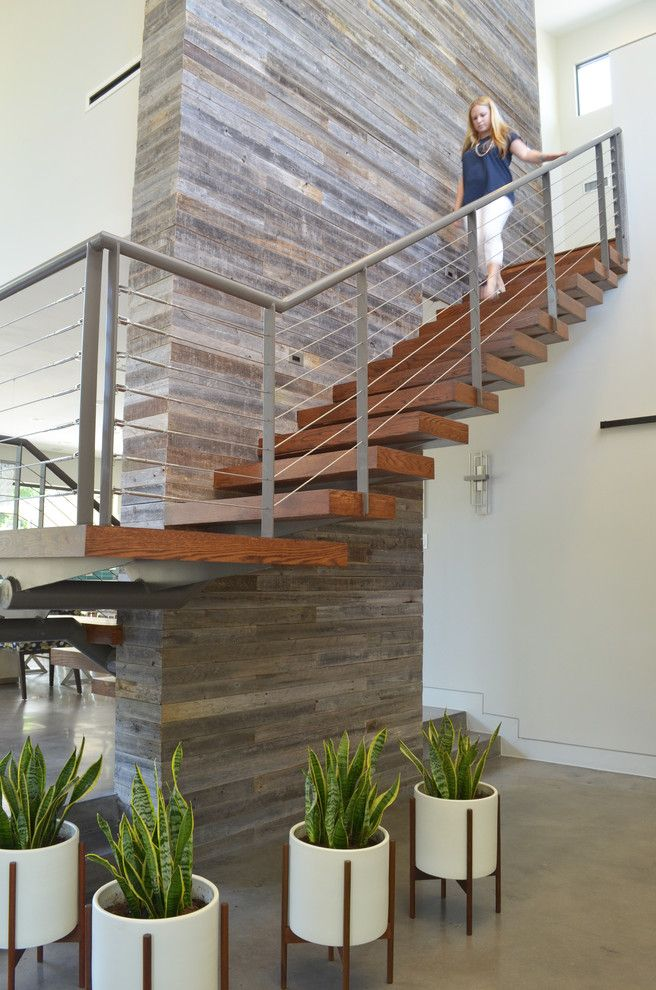 Suddenlink Midland Tx for a Contemporary Staircase with a Wood and Dallas, Tx: Scott & Melissa Powell / New Leaf by Sarah Greenman