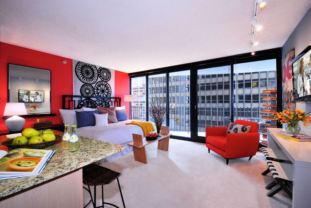 Sudio for a Contemporary Bedroom with a Red Paint and Aqua Studio Apartment by Mary Cook
