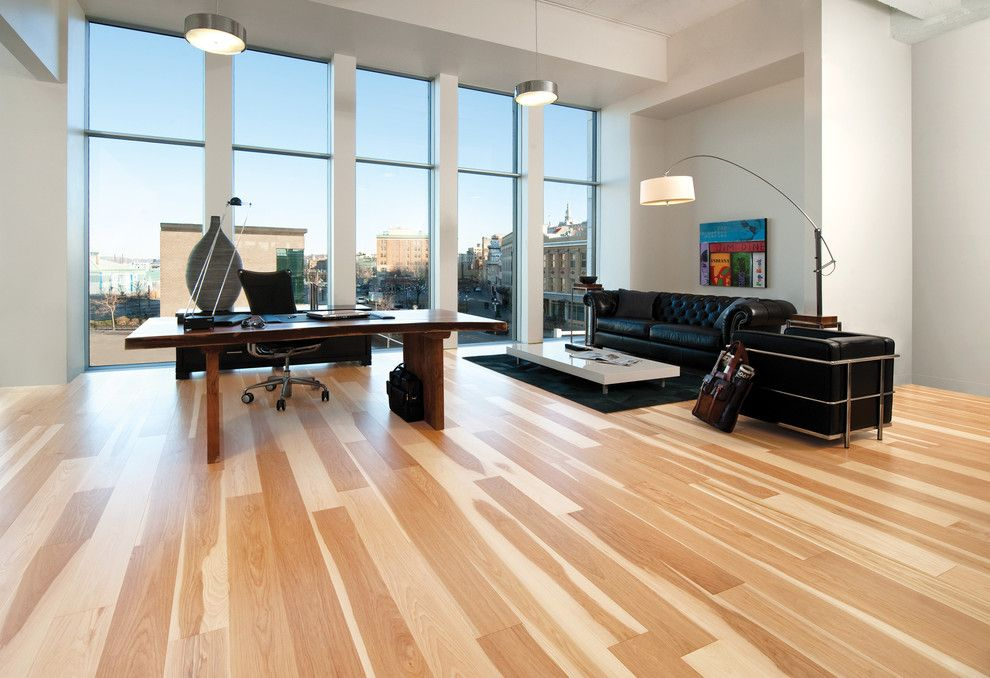 Sudio for a Contemporary Home Office with a Contemporary and Hardwood Flooring by Demar