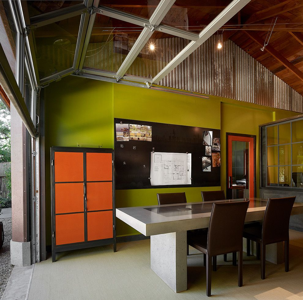Sudio for a Contemporary Home Office with a Leather Chairs and Studio and Office by Poor House Interior Design