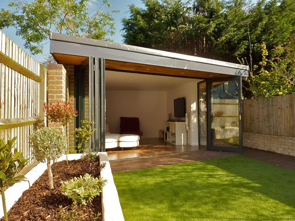 Sudio for a Contemporary Shed with a White Walls and Studio/ Den/ Music Room at the Bottom of a Garden in South West London by Vc Design Architectural Services