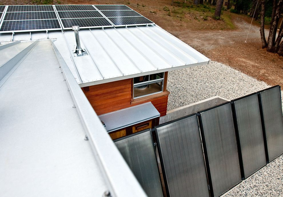 Summers Heating and Cooling for a Rustic Exterior with a Off Grid and Chalk Hill Off Grid Cabin by Arkin Tilt Architects