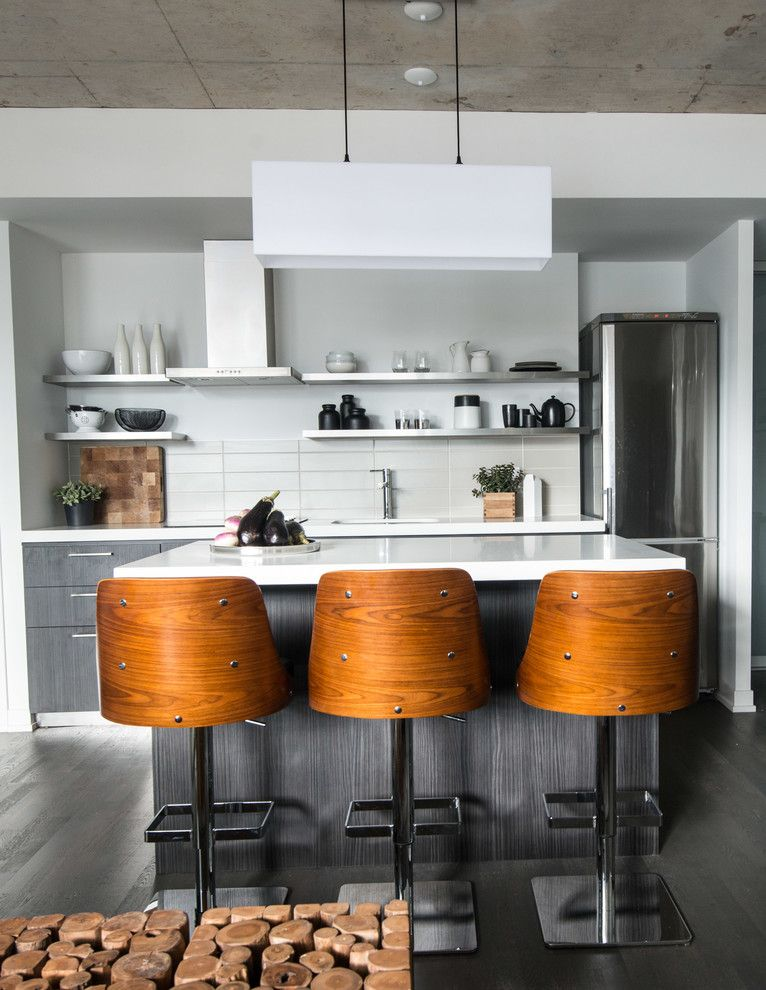 Summit Appliance for a Industrial Kitchen with a Open Shelving Kitchen and Industrial Condo Loft by Lux Design
