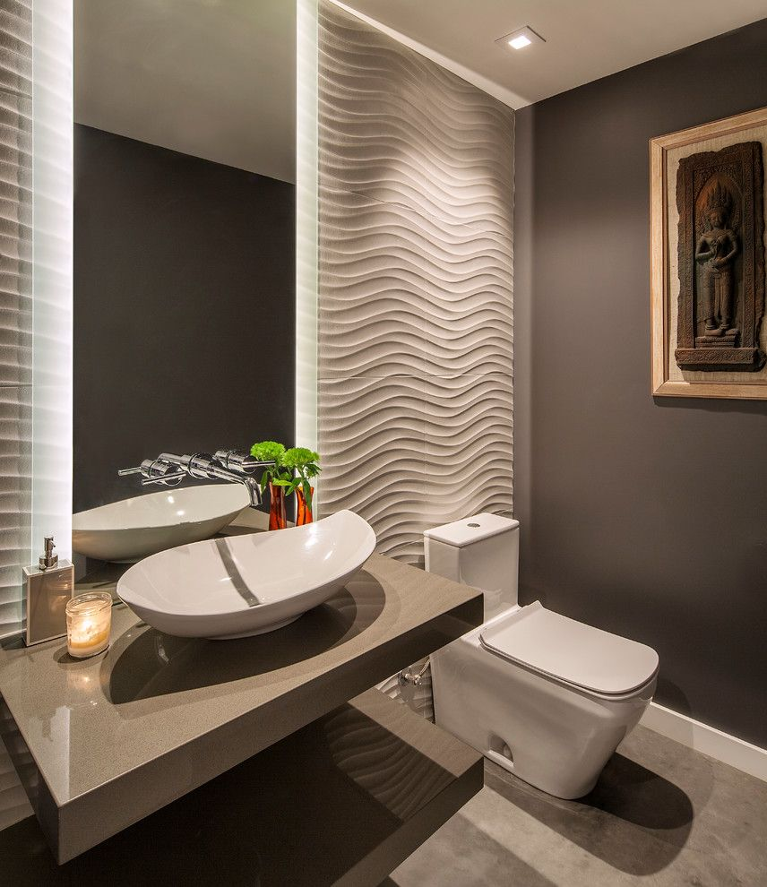 Suncoast Property Management for a Contemporary Powder Room with a Textured Walls and Contemporary Hillside Home by Allen Construction