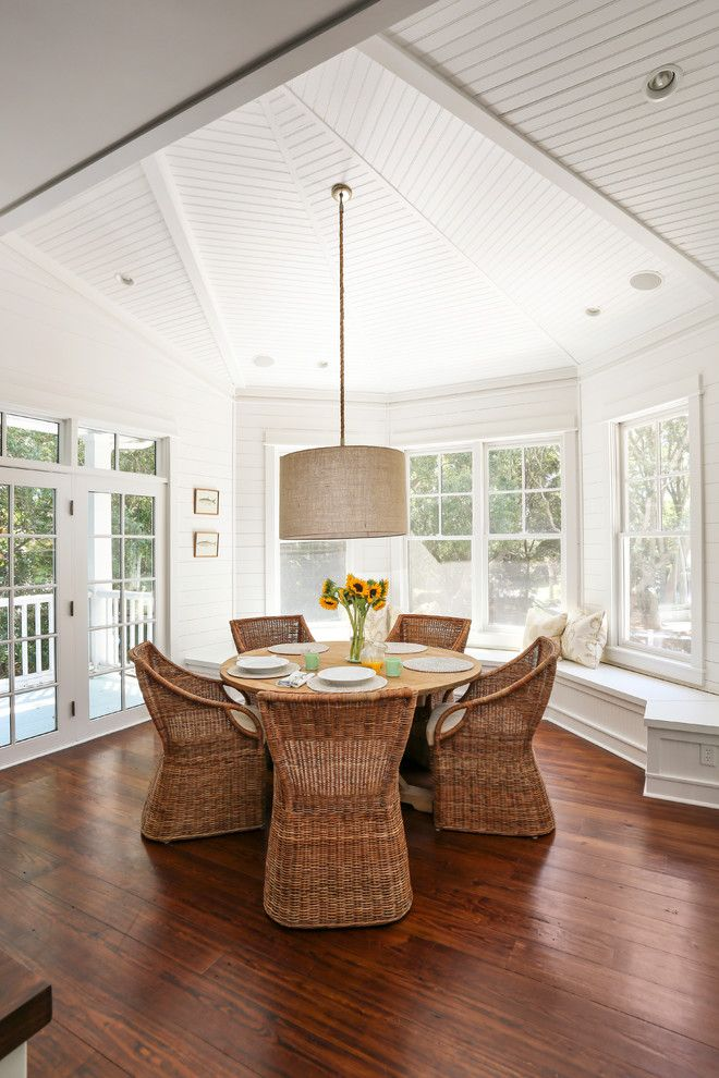 Sunflower Cafe Sonoma for a Beach Style Dining Room with a Round Dining Table and Amy Trowman Sullivans Beach House No. 3 by Matthew Bolt Graphic Design
