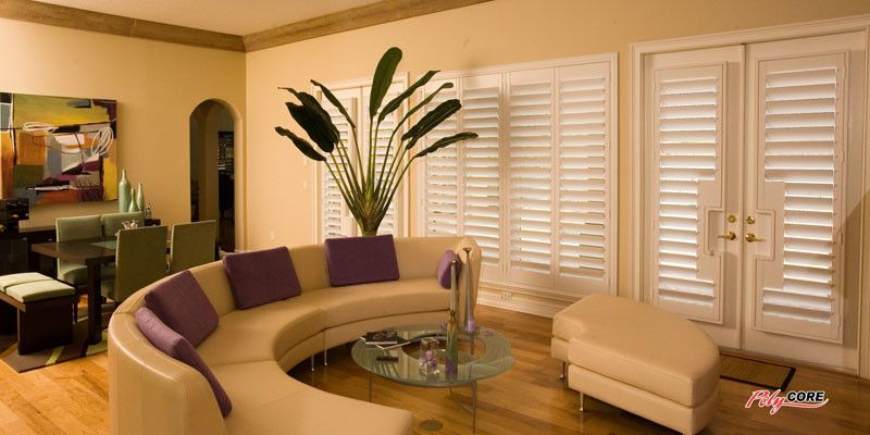 Sunland Shutters for a Midcentury Living Room with a Midcentury and Sunland Shutters  Polycore by Ej's Home Improvements, Inc.