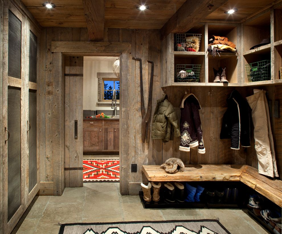 Sunnyvale Rod and Gun for a Rustic Entry with a Wood Ceiling and Mudroom/Laundry Room by Peace Design