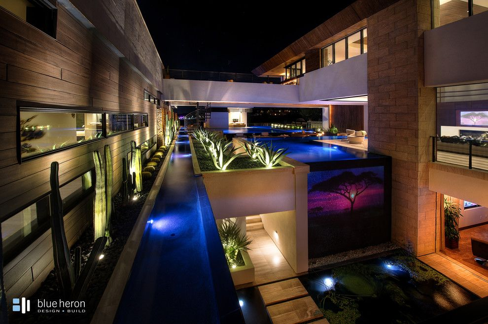 Sylvan Pools for a Contemporary Pool with a Vanishing Edge Pool and Geometric Swimming Pool   Henderson, Nv by Anthony & Sylvan Pools