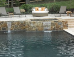 Sylvan Pools for a Farmhouse Pool with a Raised Spa and Geometric Pool & Spa - North Wales, PA by Anthony & Sylvan Pools
