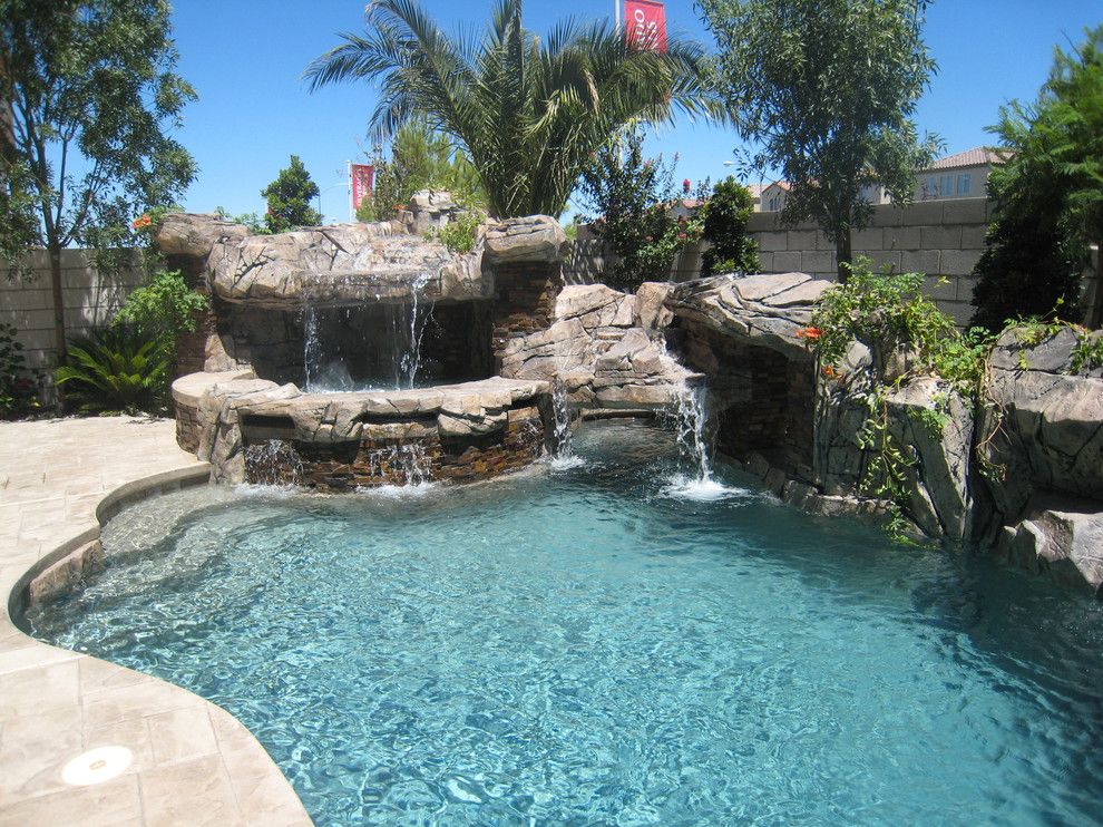 Sylvan Pools for a Rustic Pool with a Gunite and Freeform Pool & Spa   Silverado Springs   Las Vegas, Nv by Anthony & Sylvan Pools