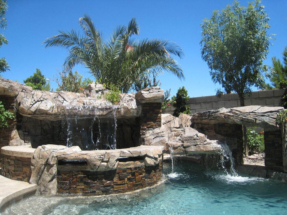 Sylvan Pools for a Rustic Pool with a Swimming Pool and Freeform Pool & Spa   Silverado Springs   Las Vegas, Nv by Anthony & Sylvan Pools