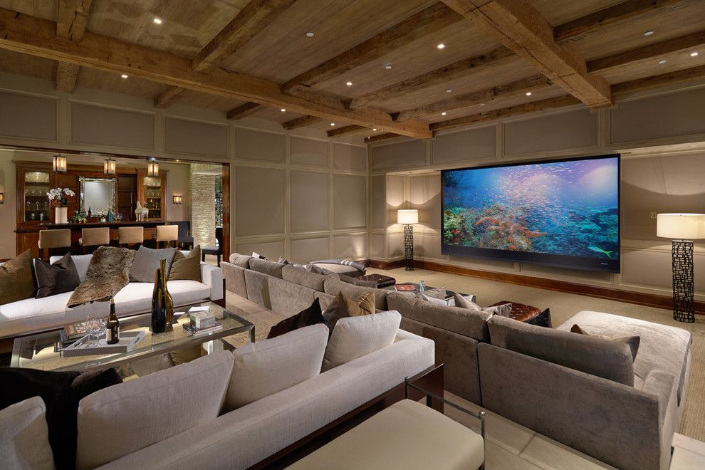 Syracuse Movie Theater for a Mediterranean Home Theater with a Party Room and Laguna Beach-2 by Dugally Oberfeld, Inc.