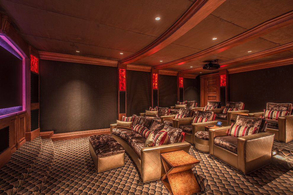Syracuse Movie Theater for a Mediterranean Home Theater with a Track Arm and Paradise Valley Manor by Feathers Fine Custom Furnishings