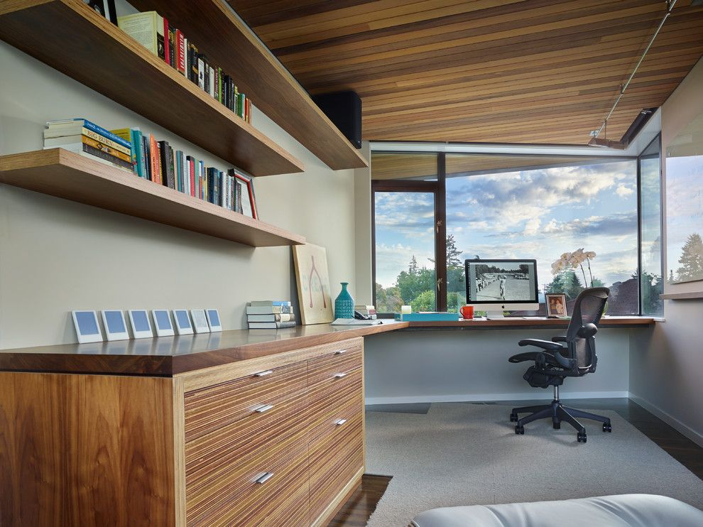 Sysco Guest Supply for a Contemporary Home Office with a Cedar Ceilings and Sunrise Vista by Lane Williams Architects