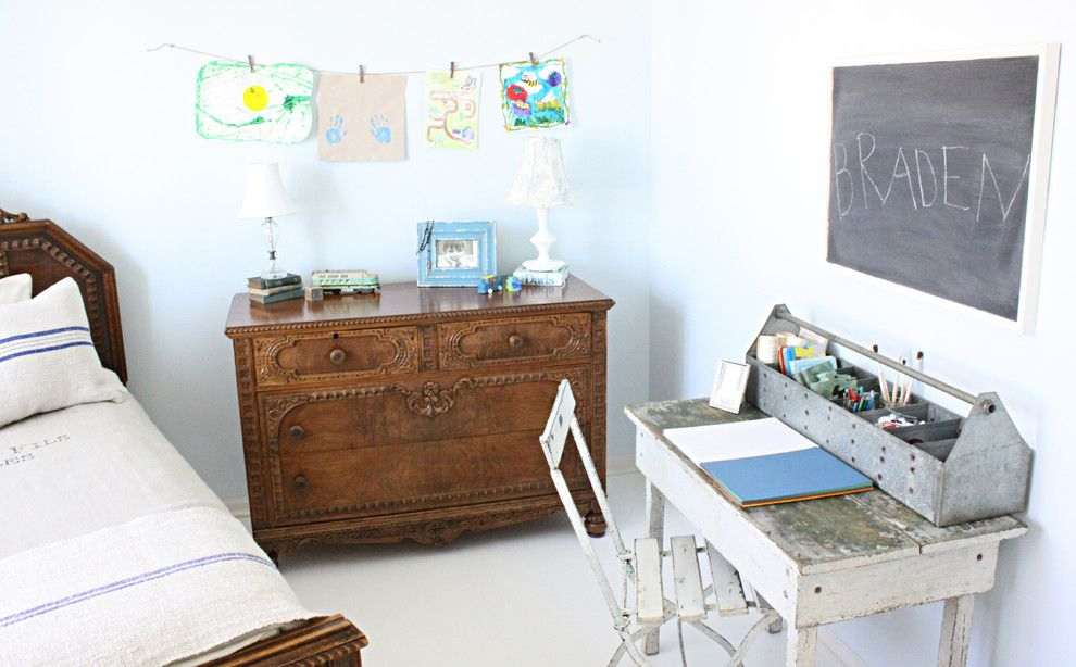 Sysco Guest Supply for a Shabby Chic Style Kids with a Desk and Eclectic Kids by Frenchlarkspur.blogspot.com