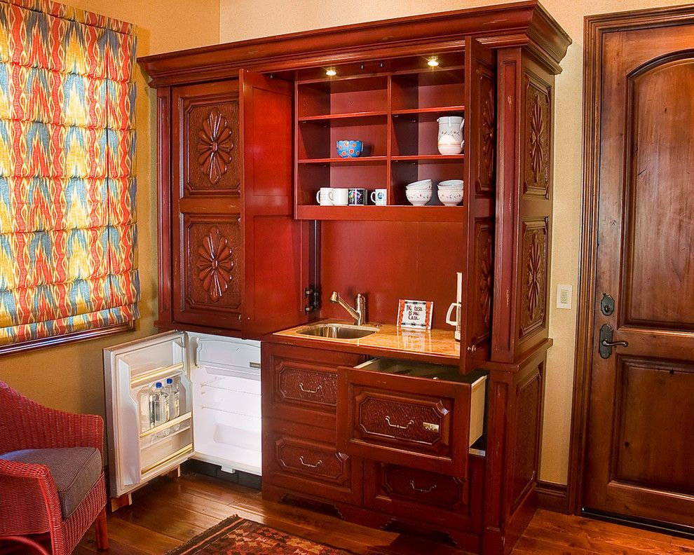 Sysco Guest Supply for a Traditional Kitchen with a Red and Rustic Red Kitchenette by Milk and Honey Design