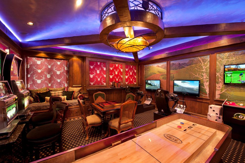 Table Shuffleboard Rules for a Traditional Family Room with a Mood Lighting and Luxurious Mountain Home by Design One Interiors