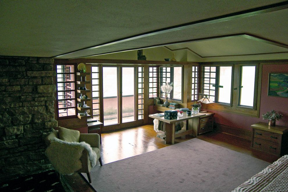 Taliesin Wisconsin for a  Bedroom with a Frank Lloyd Wright and Mrs. Wright's Bedroom by Taliesin Preservation, Inc.