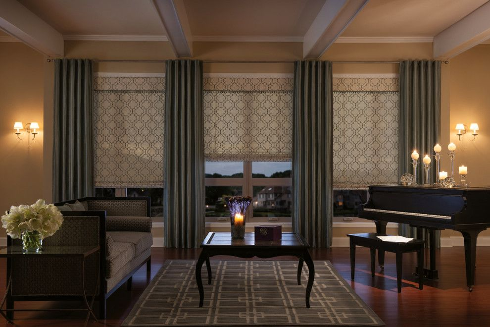 Taliesin Wisconsin for a Traditional Living Room with a Window Treatments and Draperies with Back Tab by Budget Blinds