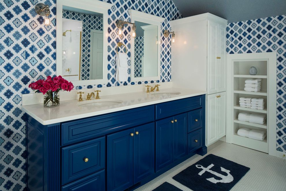 Tardis Blue Paint for a Beach Style Bathroom with a Wallpaper and Birch Grove by Martha O'hara Interiors