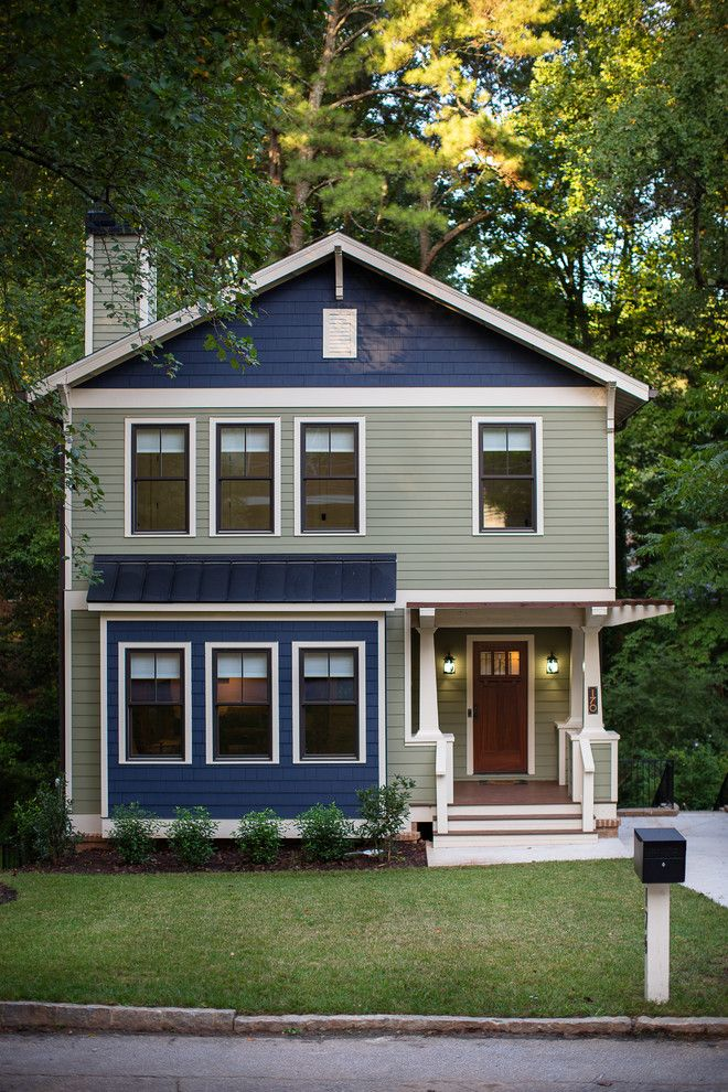 Tardis Blue Paint for a Craftsman Exterior with a Pergola and Decatur Craftsman by First Street Builders
