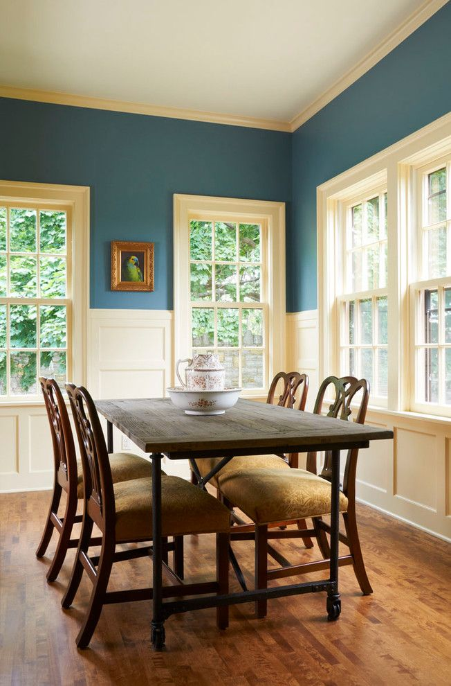Tardis Blue Paint for a Traditional Dining Room with a Rustic Dining Table and Grand Hill by Welch Forsman Associates