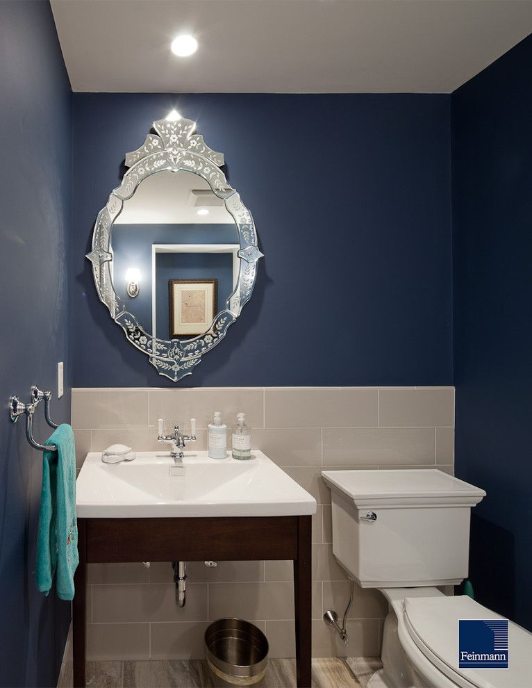 Tardis Blue Paint for a Traditional Powder Room with a Bathroom Mirror and Modern Urban Revival by Feinmann, Inc.