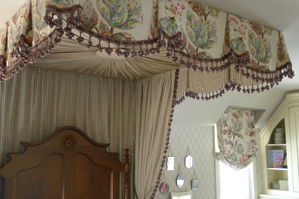 Tea and Crumpets for a Traditional Bedroom with a Starburst Upholstered Bed Ceiling and Child's Bedroom by Susan Brook Interiors