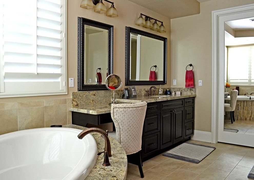 Temecula Theater for a Contemporary Bathroom with a Remodel and Antique White, Temecula, Ca. by Hk Custom Cabinets