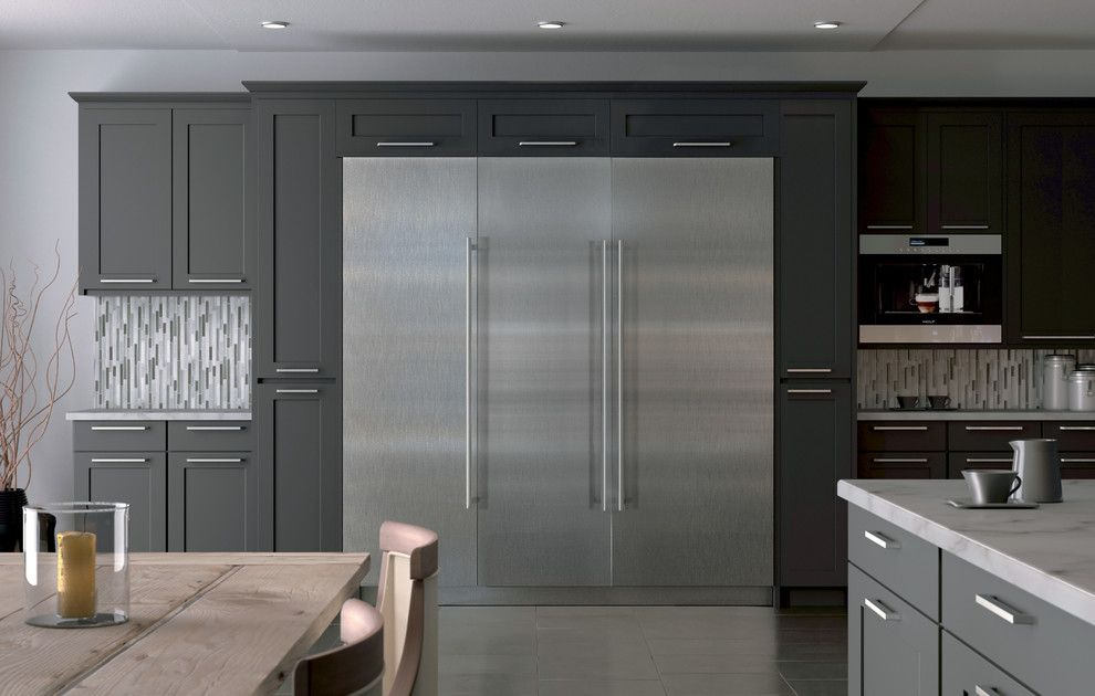 Tex Cote for a Contemporary Kitchen with a Gray Floor Tile and Kitchens by Sub-Zero and Wolf