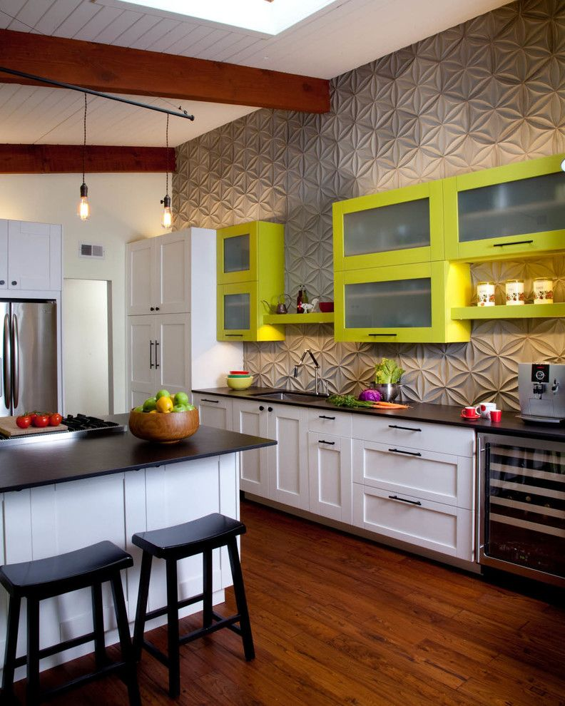 Texturing Walls for a Contemporary Kitchen with a White Cabinets and Kitchen by Gail Owens Photography