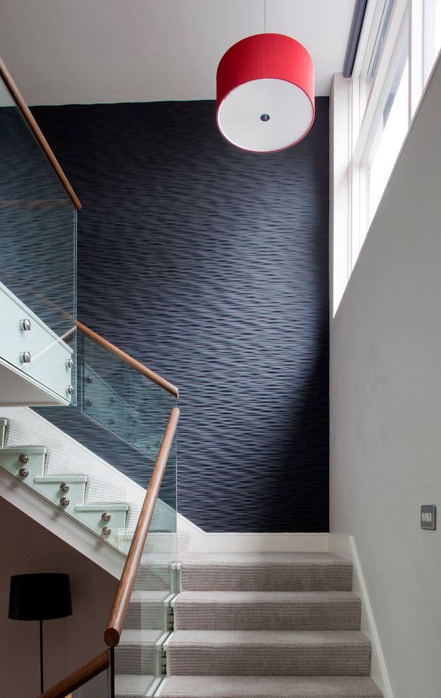 Texturing Walls for a Contemporary Staircase with a Drum Pendant Light and Contemporary House by Nicola O'Mara Interior Design