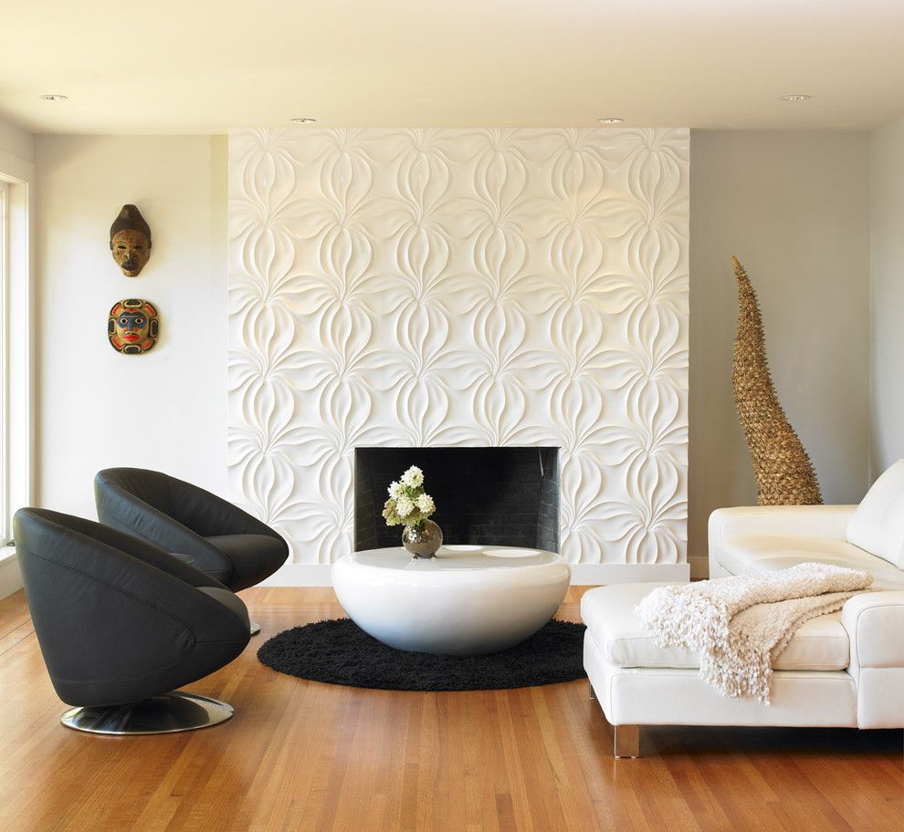 Texturing Walls for a Modern Living Room with a Black and White and a Royal View by the Sky is the Limit Design