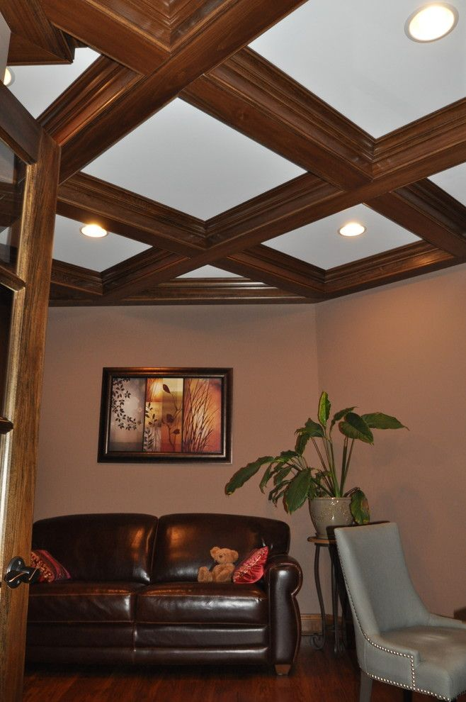 The Ashleys for a Transitional Home Office with a Wood Box Beam Ceiling and Wooded View by Ashley Construction / Ashley Remodeling