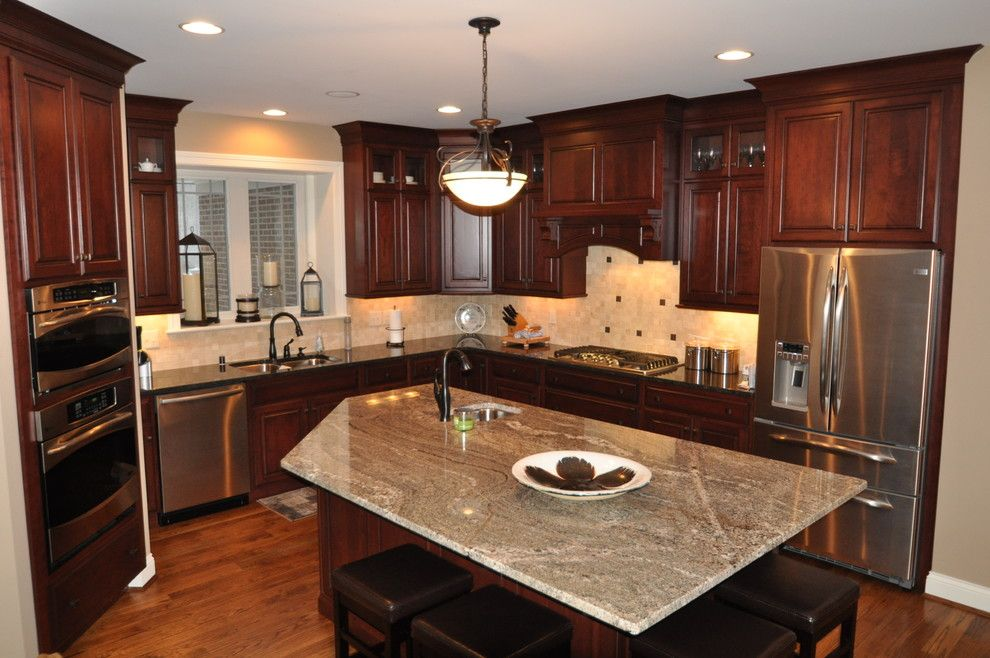 The Ashleys for a Transitional Kitchen with a Cherry Cabinets and Wooded View by Ashley Construction / Ashley Remodeling