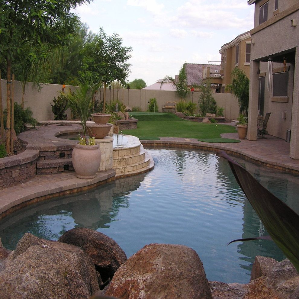 The Boulders Golf for a Tropical Pool with a Palm Leaf and Project Gallery by New Image Landscape and Pools Llc