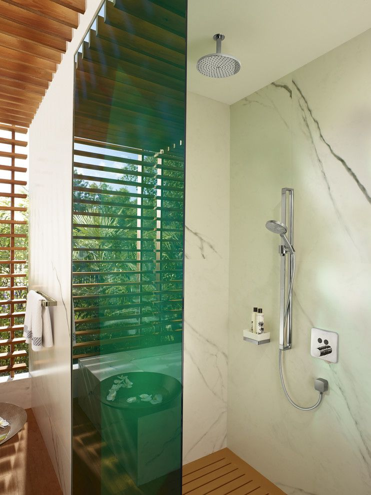 The Colonnade Atlanta for a Modern Bathroom with a Double Showerhead and Hansgrohe by Hansgrohe USA