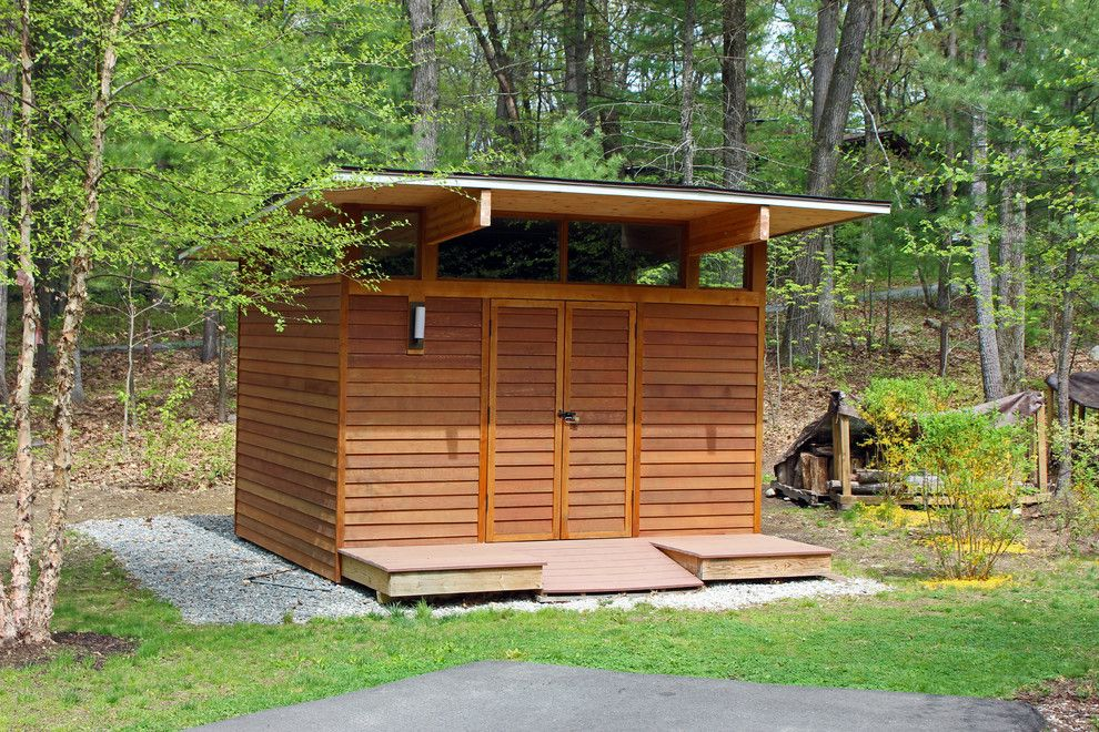 The Garage Brockton Ma for a Contemporary Shed with a Gravel and Deck House Shed by Buchanan Custom Builders