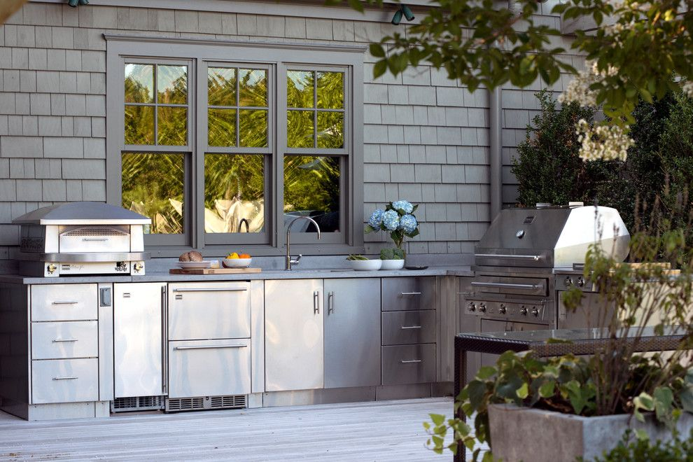 The Seasons Laurel Md for a Beach Style Deck with a Pizza Oven and the Hamptons, New York by Kalamazoo Outdoor Gourmet
