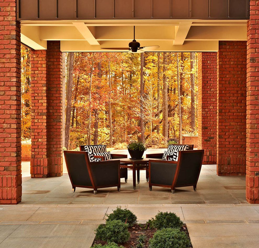 The Seasons of Cherry Creek for a Contemporary Patio with a Concrete Patio and Triangle Brick's Canyon Creek by Triangle Brick Company