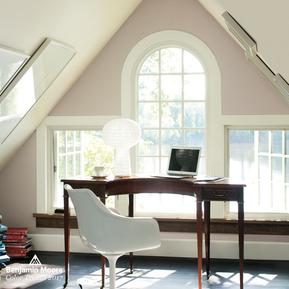 The Woodlands of College Station for a Contemporary Home Office with a Vaulted Ceiling and Benjamin Moore by Benjamin Moore