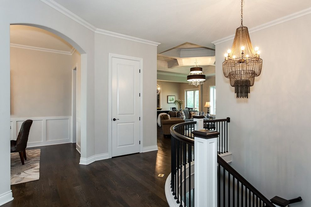 The Yard Wichita Ks for a Transitional Entry with a Chandelier and the Graystone - Wichita, KS by Nies Homes