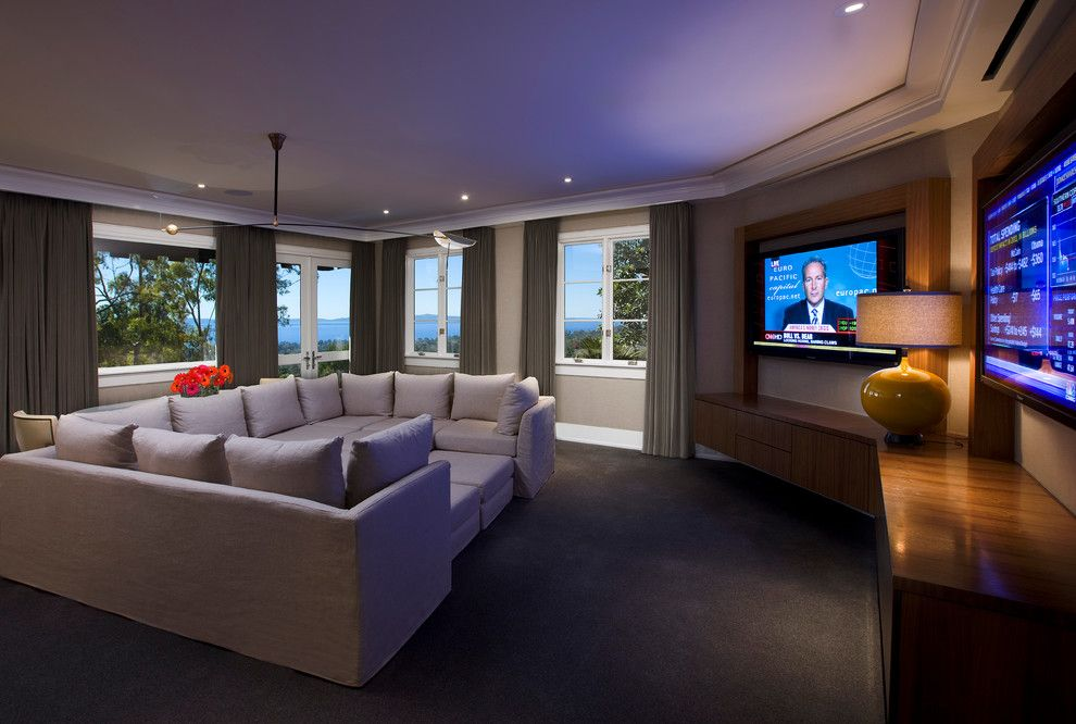 Thousand Oaks Theater for a Contemporary Home Theater with a Oak Floors and Hollywood Regency, Montecito by Maienza   Wilson Architecture + Interiors