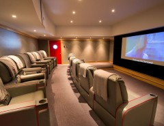 Thousand Oaks Theater for a Traditional Home Theater with a Media Room and Theater Room by Phinney Design Group