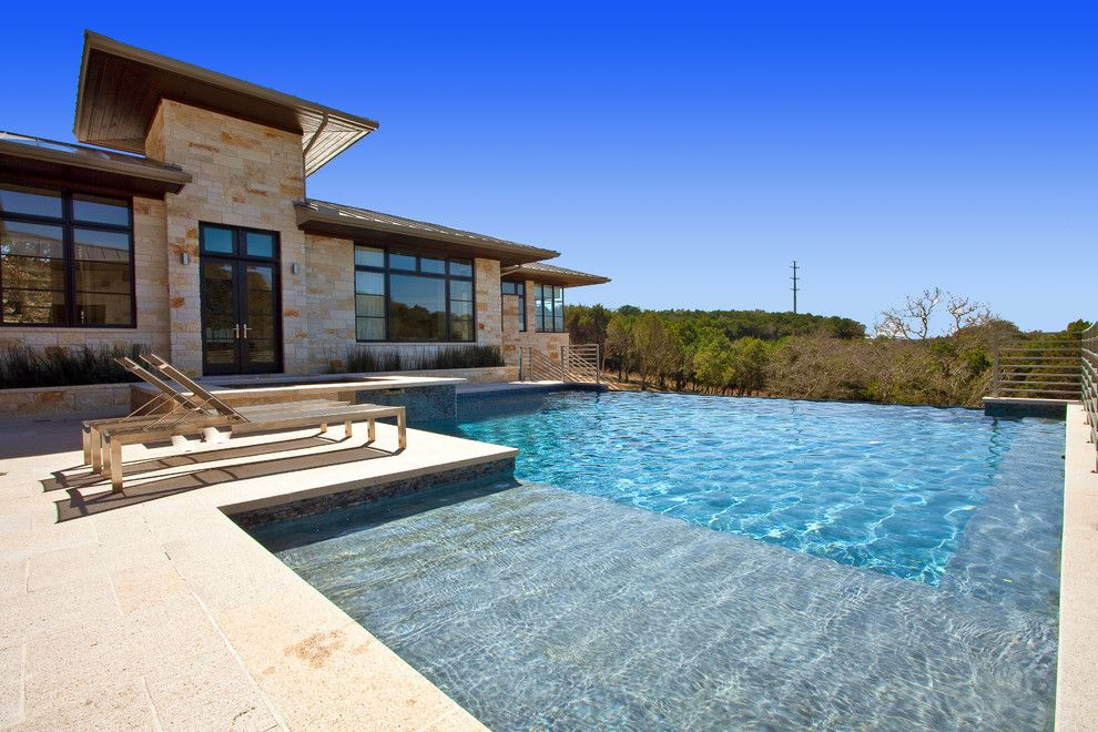 Thousand Steps Beach for a Contemporary Pool with a French Doors and Barton Creek Residence by Cornerstone Architects