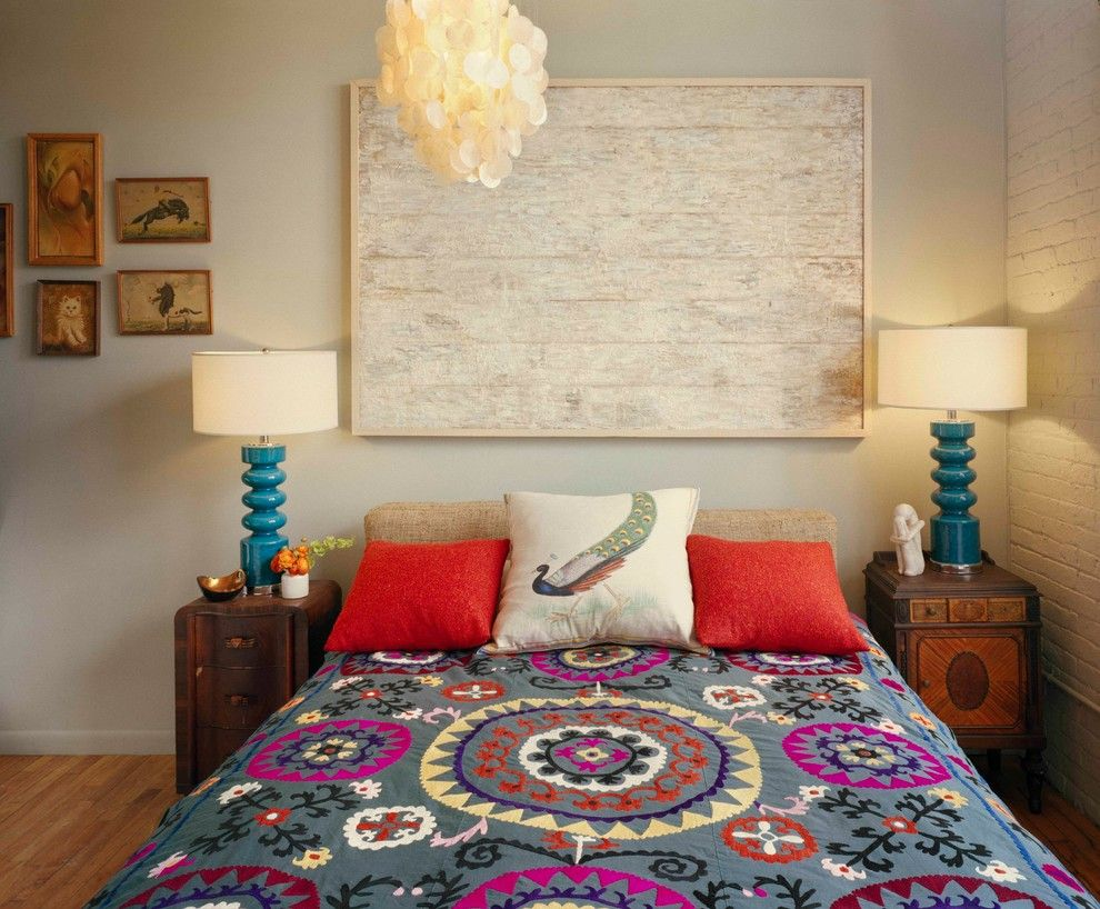 Thrift Stores Omaha for a Eclectic Bedroom with a Blue Bedside Lamps and Loft in Brooklyn Sweater Factory by Ondine Karady Design