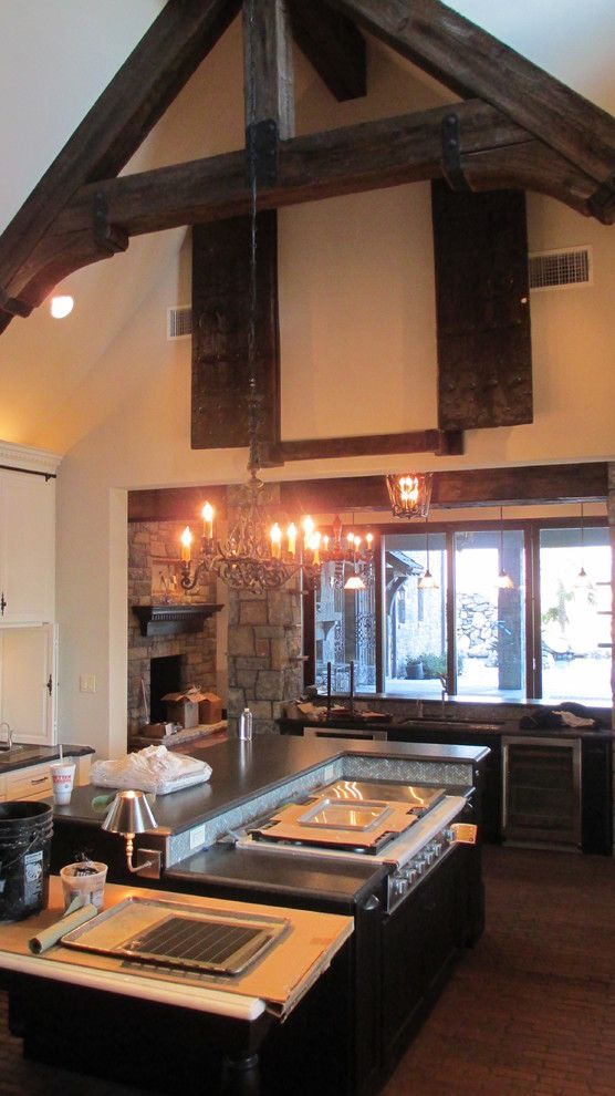 Tic Tac Shot for a Traditional Kitchen with a Brown and Beams & Trusses by Green Valley Beam & Truss Co.