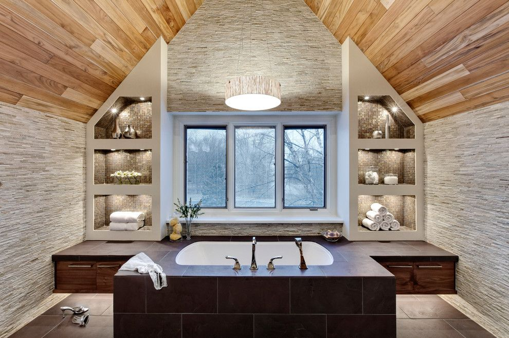 Tile and Stone Warehouse for a Contemporary Bathroom with a Brown Cabinet and Transitional Master Bath by Drury Design