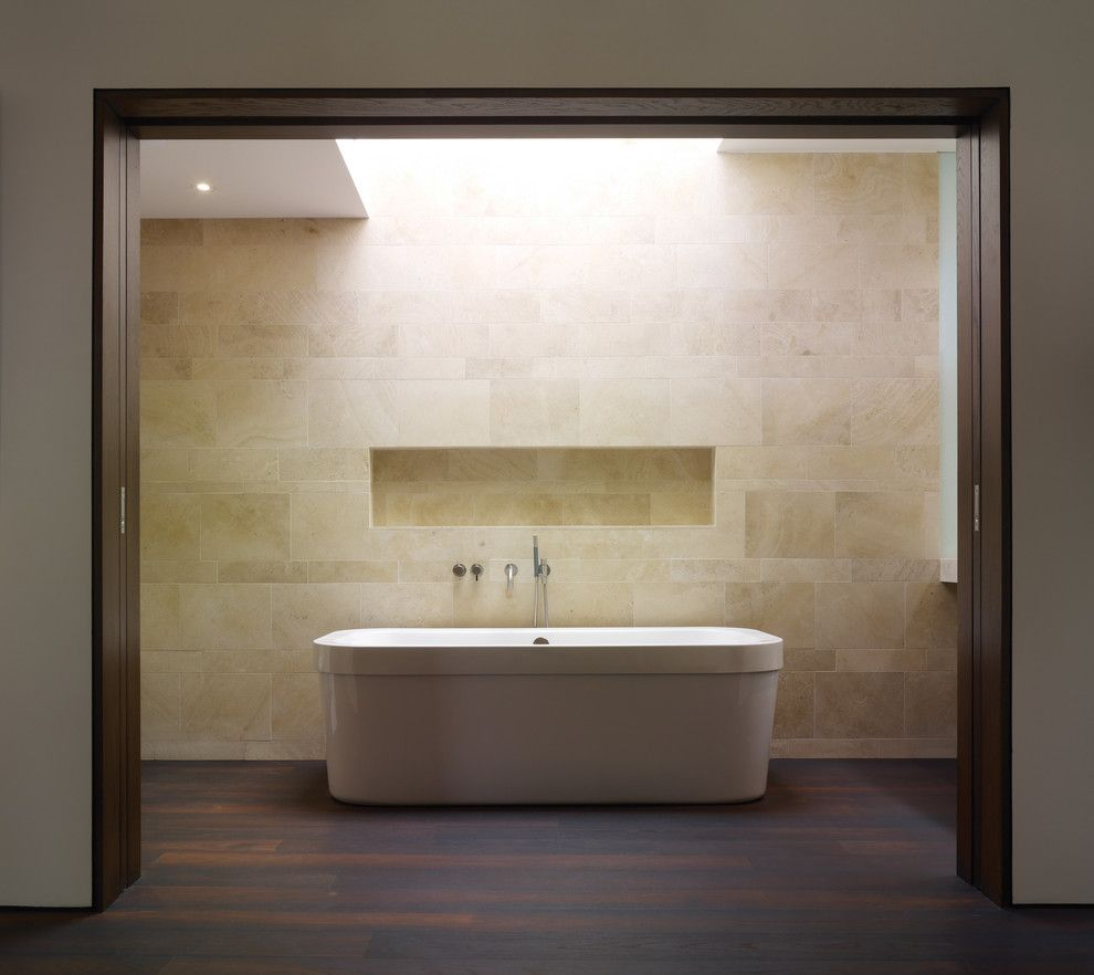 Tile and Stone Warehouse for a Modern Bathroom with a Dark Wood Trim and Griffin Enright Architects: Point Dume Residence by Griffin Enright Architects